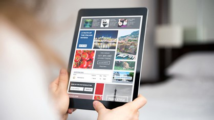 Woman using tablet that shows a bunch of press release options